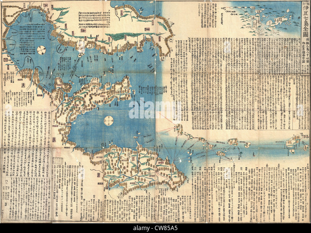 1847 Japanese Edo Period Woodblock Map of the Izu Islands (Tokyo or Edo) - Stock Image