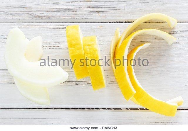Honeydew melon wedges - Stock Image