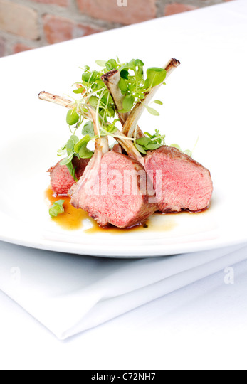 Classic lamb chops plate served french style - Stock Image