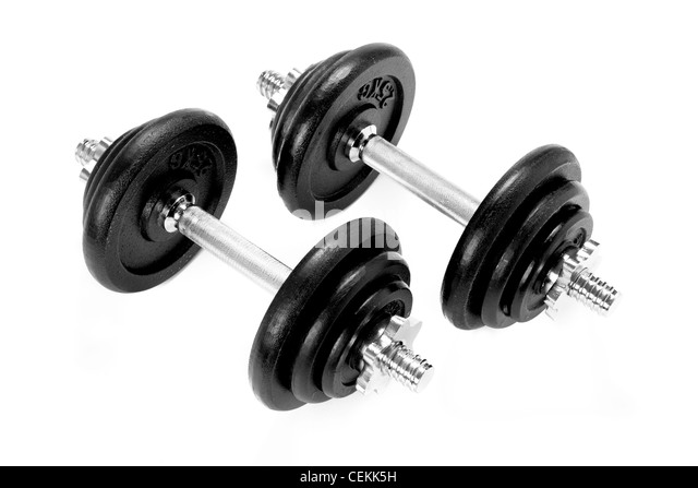 two metal dumbbels, black and silver, on white - Stock Image