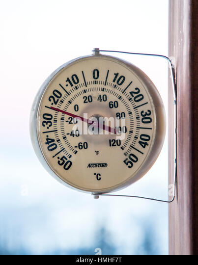 Outdoor thermometer reads -25 C.; Sentry Lodge; 6920 ft; Esplanade Range; Selkirk Range; British Columbia; Canada - Stock Image