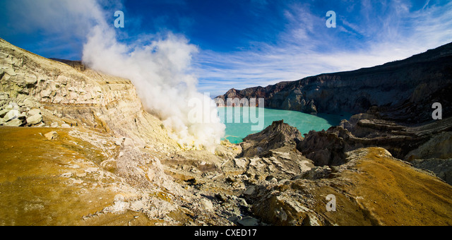 Kawah Ijen's acidic turquoise blue crater lake, Java, Indonesia, Southeast Asia, Asia - Stock Image