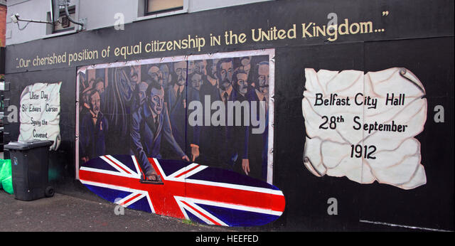 Belfast Unionist, Loyalist Mural - City Hall 28th September 1912,Cherished position of equal citizenship in the - Stock Image
