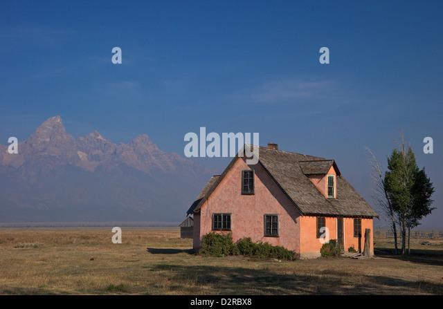 John and Bartha Moulton Homestead, Mormon Row Historic District, Grand Teton National Park, Wyoming, USA - Stock Image
