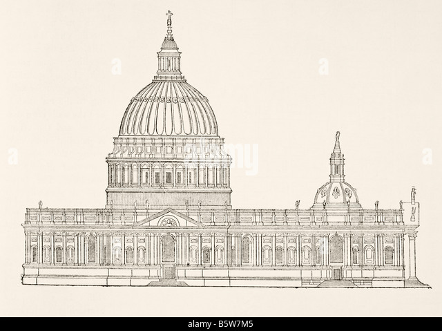Christopher Wren s first design for the new St Paul s Cathedral after the Great Fire of London - Stock Image