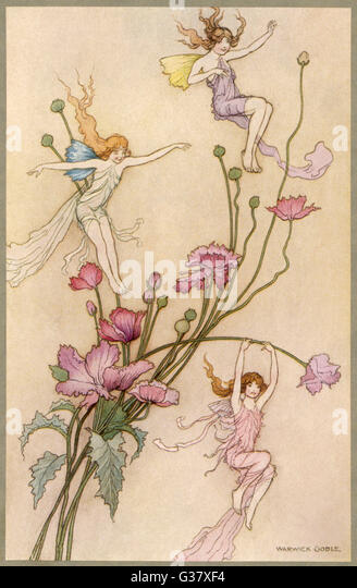 Fairies and flowers - Stock Image
