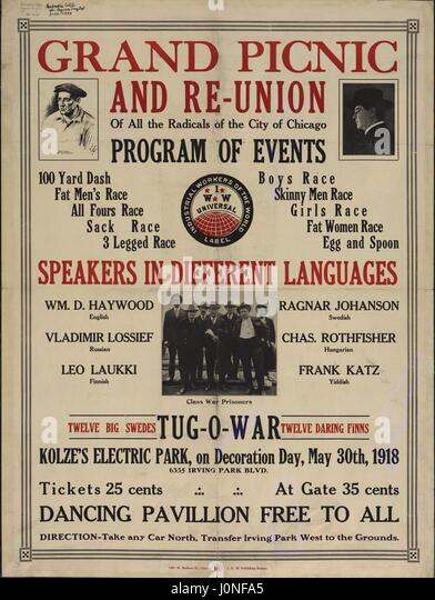 Radical poster announcing a Grand picnic and re-union of all the radicals of the city of Chicago, in Kolze's - Stock Image