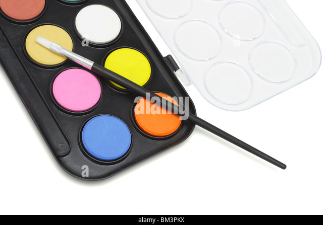 Watercolor paint set with brush on white background - Stock-Bilder