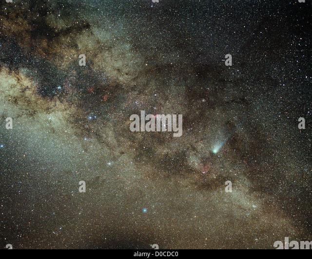 Comet Halley Against Milky Way Galaxy - Stock Image