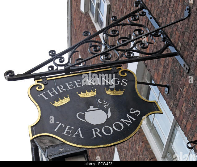 The Three Kings Tea Rooms Chester City, Cheshire, England, UK - Stock Image