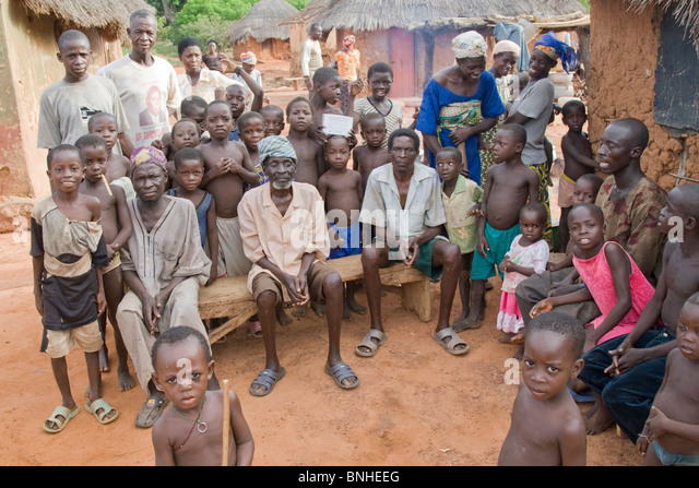 The chief and people of Bouchipe, a village in the Gonja Triangle, Damango district, Ghana. - Stock Image