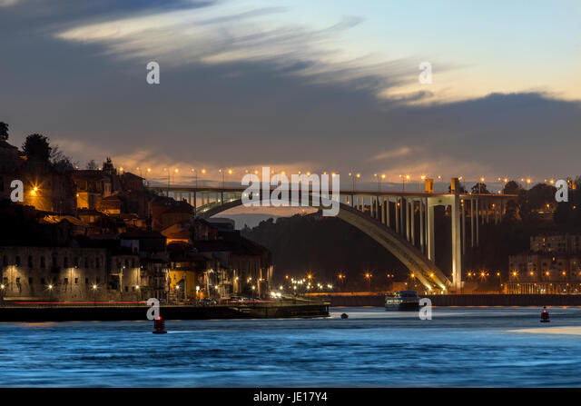 Ponte da Arrabida over the River Douro in the city of Porto (Oporto) in Portugal - Stock Image