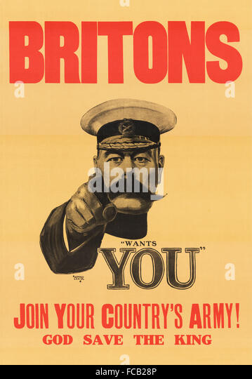 'Lord Kitchener Wants You' recruitment poster for the British army in WWI. It was originall designed as - Stock Image