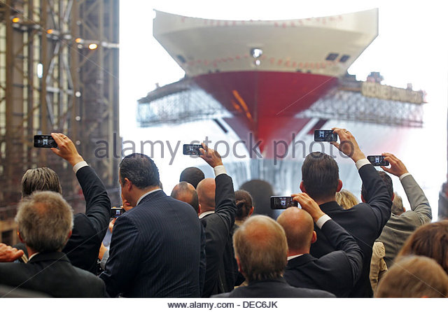 Flensburg, Germany, the ConRo ferry Oceanex Connaigra is launched - Stock Image