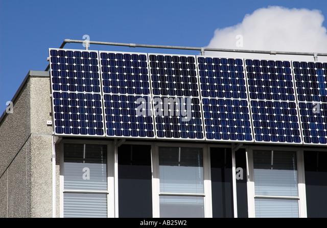 Solar Powered Office Buildings : Battery powered building stock photos