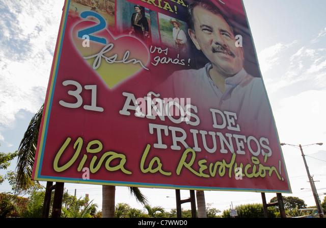Nicaragua Managua Calle Colon political billboard Daniel Ortega President government socialist revolution Sandinista - Stock Image