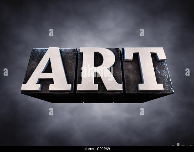 Art , letterpress typesetting on dark background , 3d illustration - Stock-Bilder