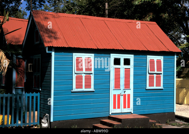 Barbados colorful chattel house - Stock Image