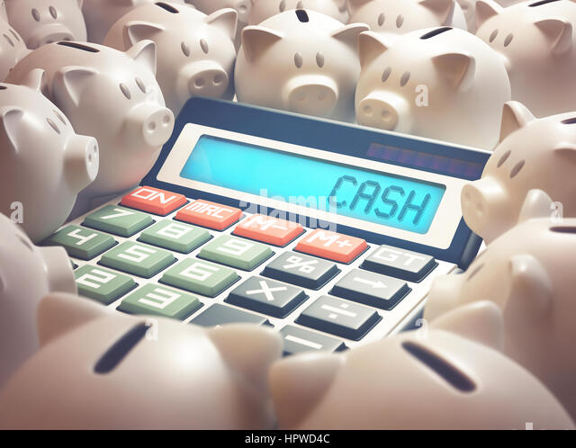 Calculator with the word cash and piggy bank, illustration. - Stock-Bilder