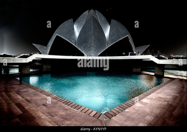 Lotus Temple of the Bahai faith, New Delhi, India - Stock-Bilder