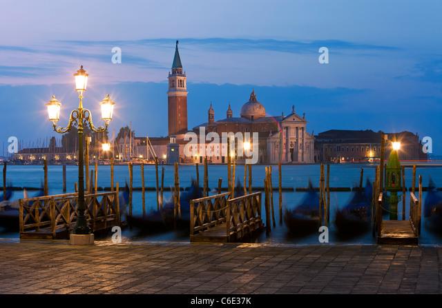 Quay at St Mark's Square with Gondolas and the view to San Giorgio Maggiore Island, Venice, Italy, Europe - Stock Image