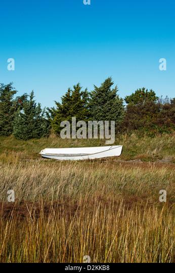 Rowboat in marsh grass, Martha's Vineyard, Massachusetts, USA - Stock Image