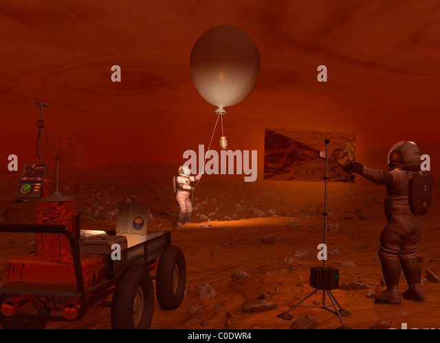 Astronauts release a weather balloon on the surface of Titan. - Stock Image