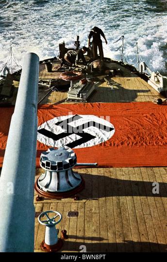 Second World War Nazi Germany Europe battle ship stern WW2 navy marine Kriegsmarine Wehrmacht flag banner - Stock Image