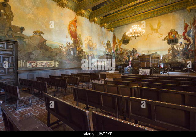 Santa barbara county courthouse stock photos santa barbara county courthouse stock images alamy for Mural room santa barbara