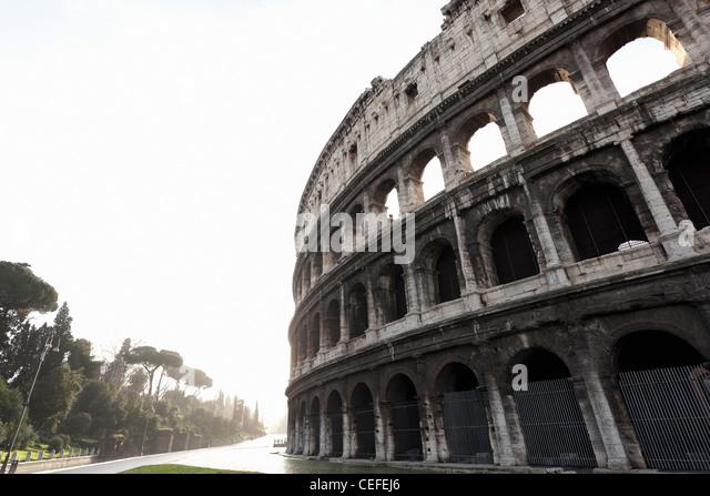 Low angle view of Roman Coliseum - Stock Image