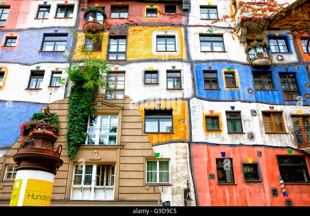 Hundertwasser's work in Vienna - Stock Image