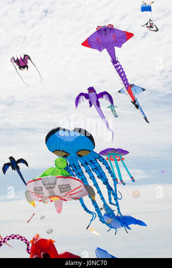 Semaphore, South Australia, Australia - April 15, 2017: A variety of flying figure kites at the Adelaide International - Stock Image
