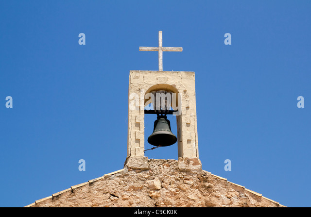 Sant Ferran church stone belfry detail in Formentera island of Spain - Stock Image