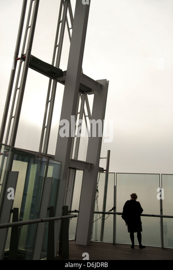 Viewing gallery on the 72nd floor of the Shard, London Bridge, London, England, United Kingdom, Europe - Stock Image