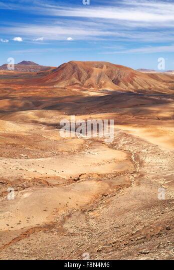 Moon volcanic landscape at Fuerteventura Island, Canary Islands, Spain - Stock Image