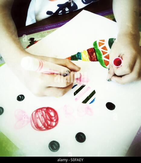 Child drawing - Stock-Bilder