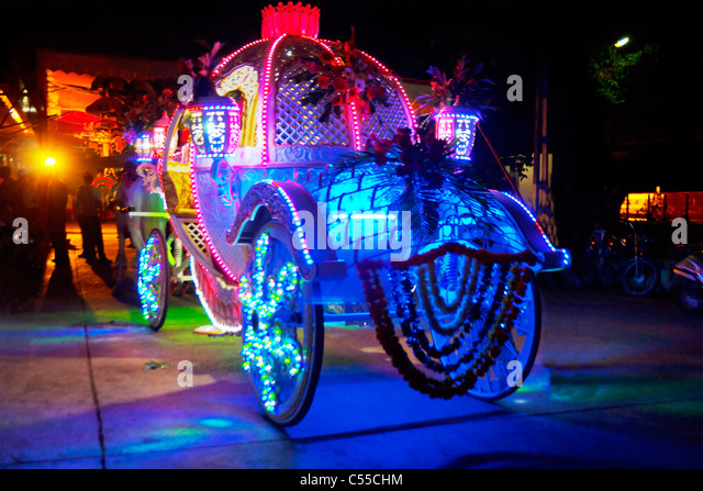 Indian wedding grooms carriage brightly lit up at night in Indian village - Stock-Bilder