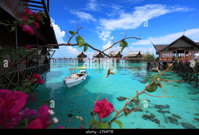 A breathtaking view of Kapalai Resort located in Semporna Island, Sabah, Malaysia - Stock Image