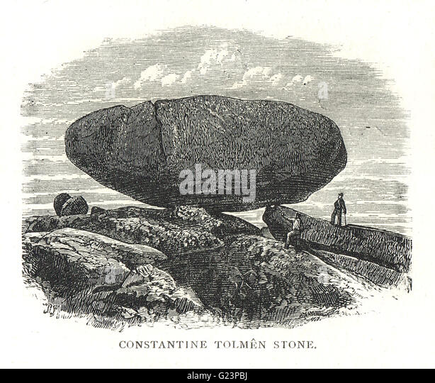 Tolmen Stone, Constantine, Cornwall, England  (Natural Ancient formation Now Destroyed) - Stock Image