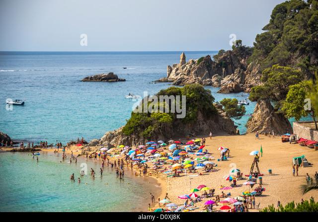 Spain, Europe, Catalonia, Costa Brava Coast, Lloret de Mar, town, Santa Cristina Beach, Lloret, Loret de Mar, beach, - Stock Image