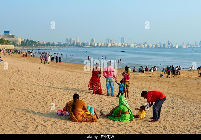 India, Maharashtra, Mumbai (Bombay), Chowpatty beach - Stock Image