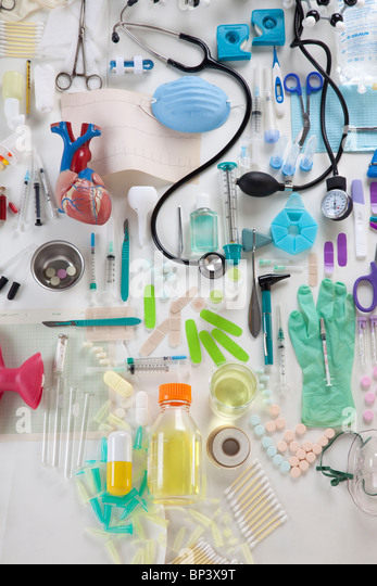 collection of medical objects - Stock Image