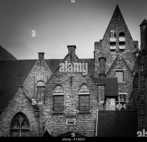 Traditional architecture in Brugges Belgium. - Stock Image