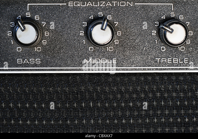 bass, middle, and treble equalization knobs on an amplifier - Stock-Bilder
