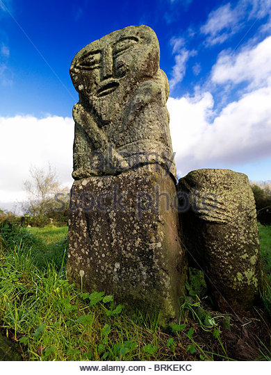 Ancient Janus Stone on Boa Island, County Fermanagh - Stock Image