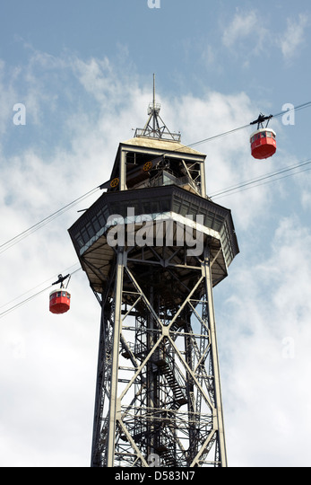 Port Vell Aerial Tramway Barcelona, Catalonia, Spain - Stock Image