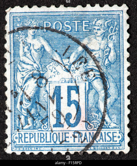 Republique Francaise 15c Stamp - Stock Image