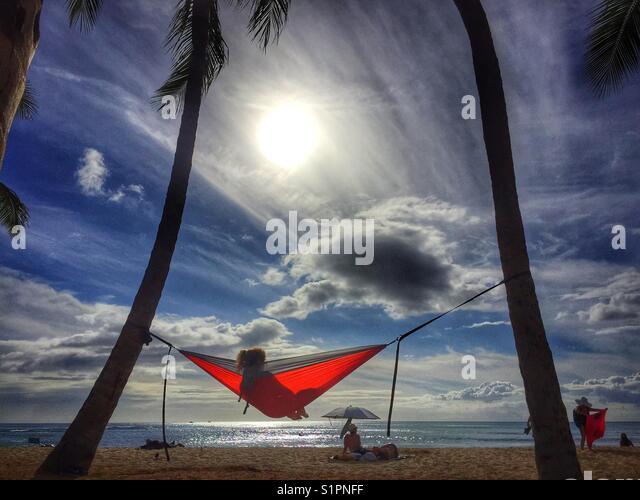 Red hammock - Stock Image