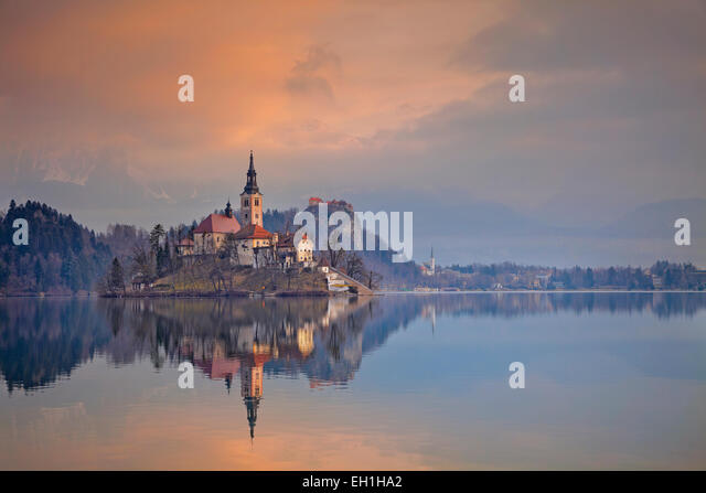 Lake Bled. Lake Bled with St. Marys Church of the Assumption on the small island. Bled, Slovenia, Europe. - Stock Image