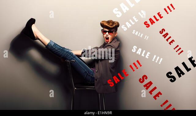 Happy funny young woman - eve xmas sales concept. Fantasy - Stock Image